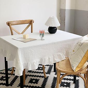 ل90cm ريترو الأبيض الدانتيل متموج حافة خلفية طاولة المطبخ مستطيلة مفرش المائدة   مفرش المائدة (أبيض) WS24323