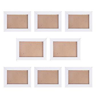 8Pcs hvid 8pcs fotoramme sæt enkle kreative husstand soveværelse hængende fotoramme efterligning træ fotoramme sæt dt3022