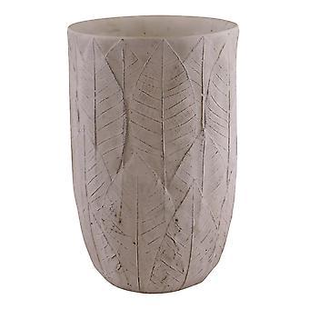Vase à feuilles gaufrées en ciment