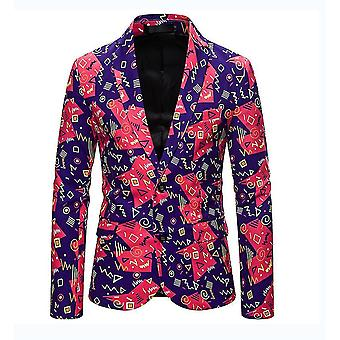 Mens Casual Two Button Single Breasted Blazer(XL)