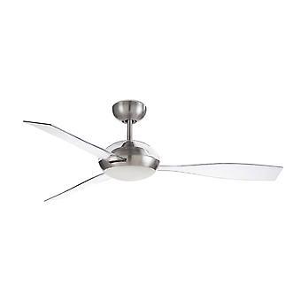 LEDS C4 Sirocco 3 Blade 132cm plafondventilator met LED Licht Satijn Nikkel, Tranparent Blades
