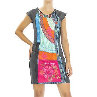 Desigual Women Knitted Dress Dolmen Regular fit Knee lenght Half sleeve Grey