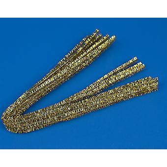 10 Gold 9mm Paksu Tinsel Extra Pitkä 50cm Putkenpuhdistusaineet | Glitter Pipecleaners