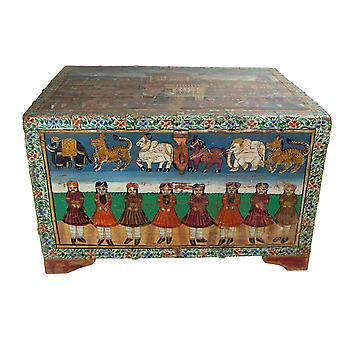 Hieno aasialainen rinnassa käsinmaalattu käsintehty Intiassa 82x60x51cm