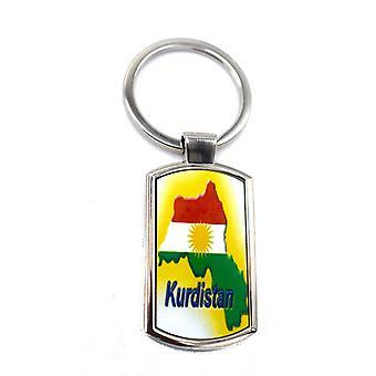Kurdistan kort flag nøglering