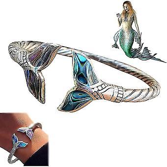 حورية البحر الذيل سوار الفضة abalone قذيفة المرأة bangle الفتيات البحرية نمط هدية المجوهرات lc943