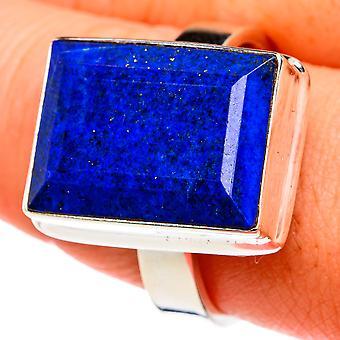 Lapis Lazuli Ring Size 10.5 (925 Sterling Silver)  - Handmade Boho Vintage Jewelry RING77379