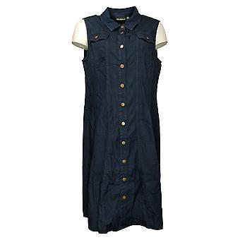 Nina Leonard Jurk Collared Button-Up Mouwloze Float Blue 741536