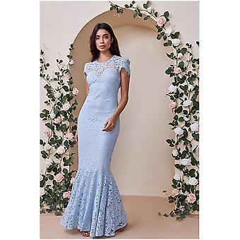 Goddiva Cap Sleeve Lace Maxi Dress - Powderblue