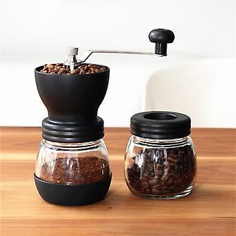 Kaffekvarn Manuell Keramisk Burr Kaffebönkvarn med glasförvaring Burkar Kaffekvarnar