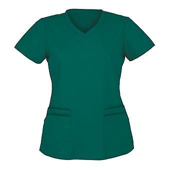 Trička s krátkým rukávem V-neck Work Uniform Solid Patchwork