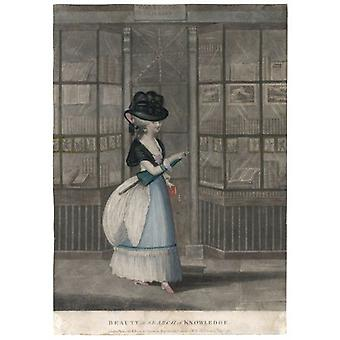 Lady Outside Bookshop. Large Framed Photo. BEAUTY IN SEARCH OF KNOWLEDGE - an elegant lady emerges.