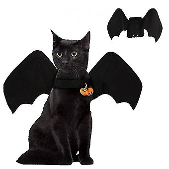 Hywell Halloween Pet Bat Wings Cats Dogs Costume Black Bat Wing With Bell Funny Clothes