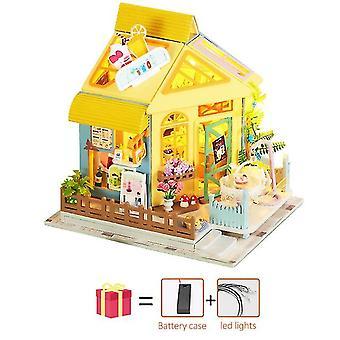 Blumenraum Diy Puppenhaus Holz Miniatur Möbel Puppenhaus Maison ModellBausätze Casa Spielzeug