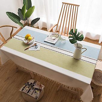 Rechteckige Tischdecke im Freien, Küchentischdecke, Einfache Pompom Dekoration Tischdecke (blau-grün, 140 * 140cm)
