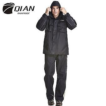 Qian-men And Women Waterproof Multifunctional Raincoat Motorcycle Cover Outdoor Hood Poncho-navy Blue