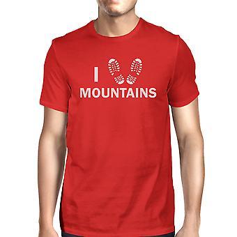 Ik hart bergen mannen rode bemanning hals T-Shirt cadeau-ideeën voor vaders