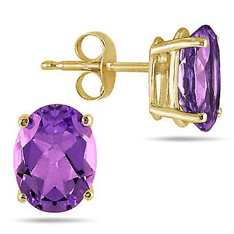 6x4mm ovalen Amethyst Ohrstecker Set in 14K Gelbgold