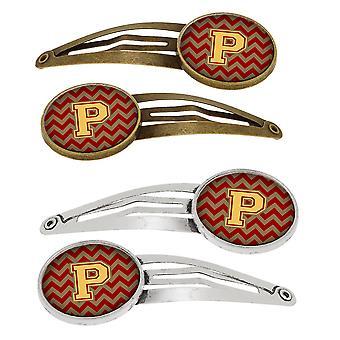 Letter P Chevron granaat en Gold Set van 4 haarspeldjes Hair Clips