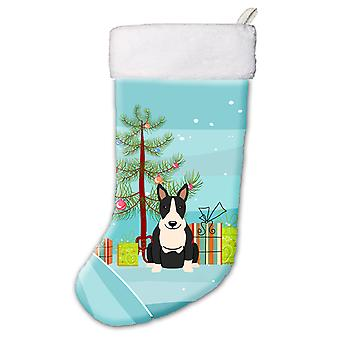 Merry Christmas Tree Bull Terrier Black White Christmas Stocking