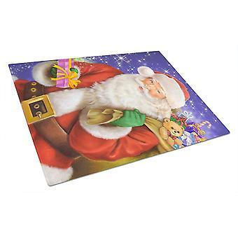 Jul Santa Claus klar til at arbejde glas skærebræt stor