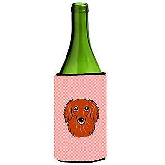 Tablero de ajedrez Dachshund rojo pelo largo rosa botella de vino bebidas aislador Hugger