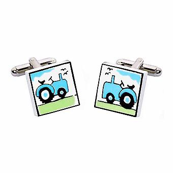 Blue Tractor Cufflinks by Sonia Spencer, in Presentation Gift Box. Hand painted