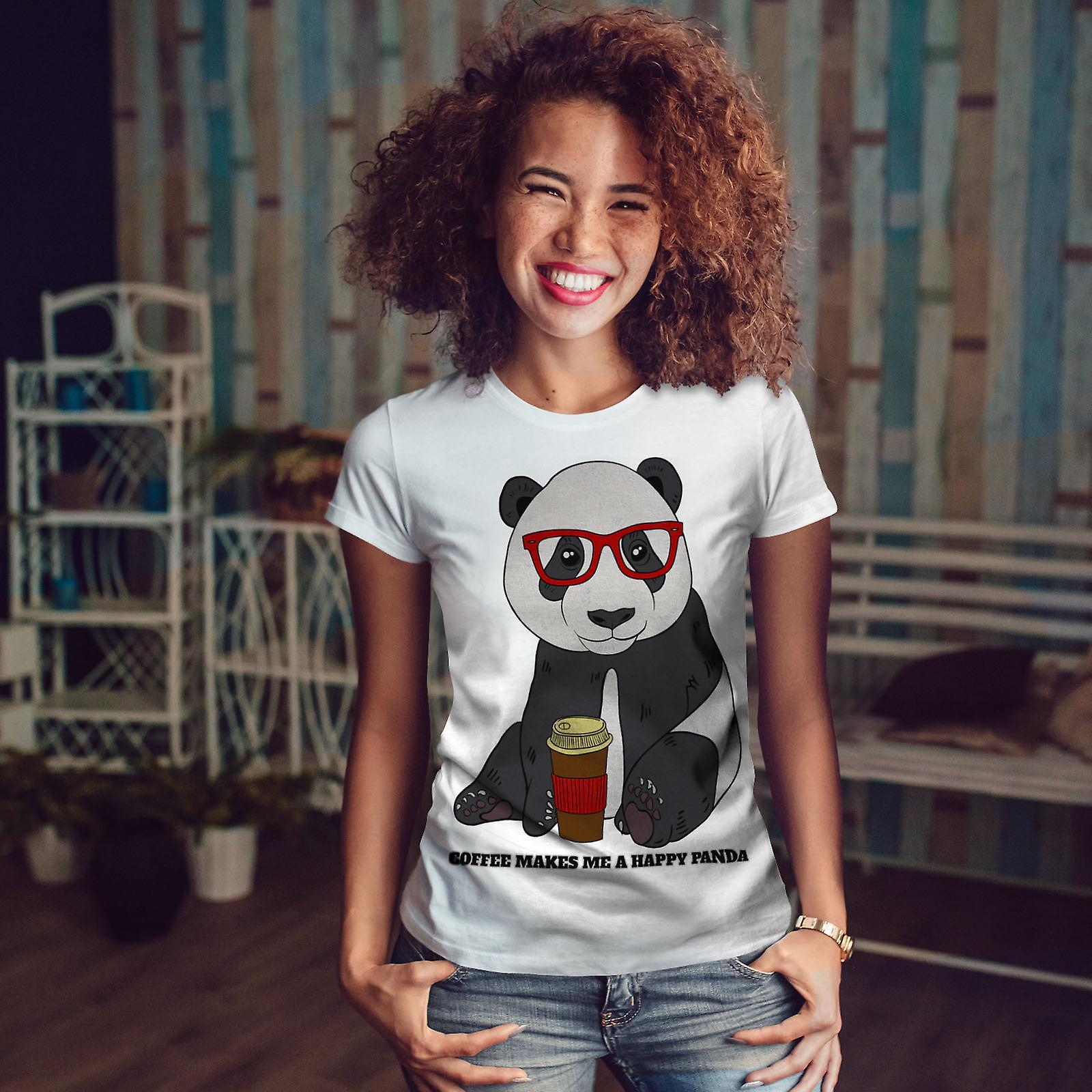 WhiteT-chemise de femme café Panda heureux | Wellcoda