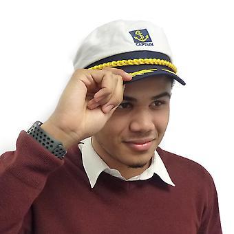 TRIXES weiß und Marine Neuheit verstellbare Sailor Marine Kapitäne Hut