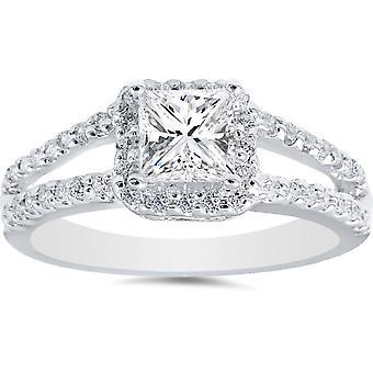 1ct Vintage Halo Split Schaft Prinzessin Schnitt Diamant Verlobungsring 14K Weißgold