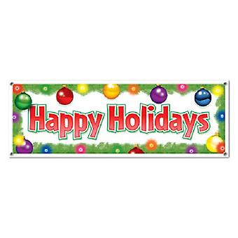 """Happy Holidays Sign Banner 5' x 21"""""""