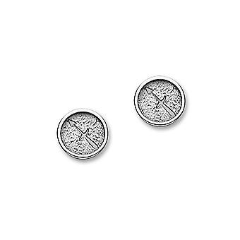 Zodiaco astrología contemporánea tradicional de plata diseño signo par de pendientes - E1855