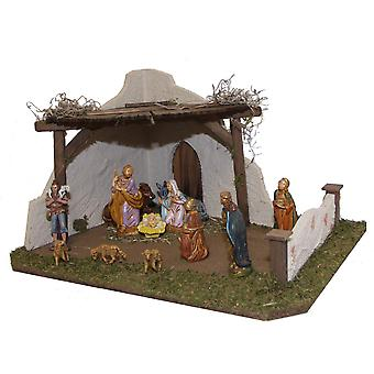 Crib Nativity scene wood Nativity stable ISAAC crafted for figures up to 10 cm