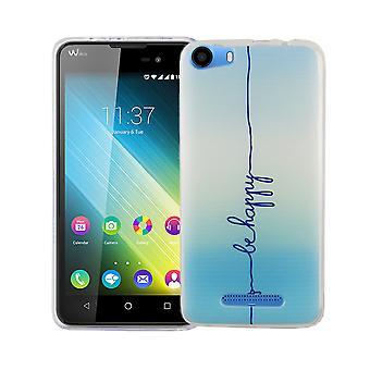 Mobiili WIKO Lenny 2 kansi tapauksessa suojapussin motiivi slim silicone TPU kaiverrus on onnellinen sininen
