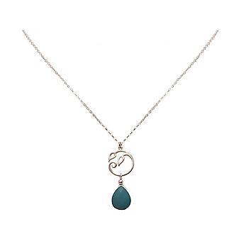 Gotas de senhoras colar - pingente - 925 prata - e - turquesa - folhas de videira - azuis - YOGA - 45 cm