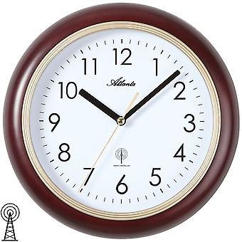 Atlanta 4323/20 wall clock radio radio controlled wall clock analog Brown golden round