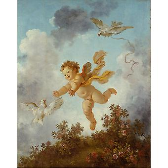 Pursuing a dove, Jean-Honore Fragonard, 50x40cm