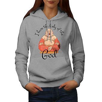 Buddha Funy Bodyshape Naiset GreyHoodie | Wellcoda, mitä sinä olet?