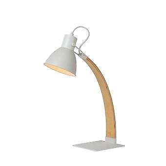 Lucide Curf Scandinavian Wood White And Light Wood Desk Lamp