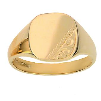 9ct Gold 12x12mm solid hand engraved cushion Gents Signet Ring Size T