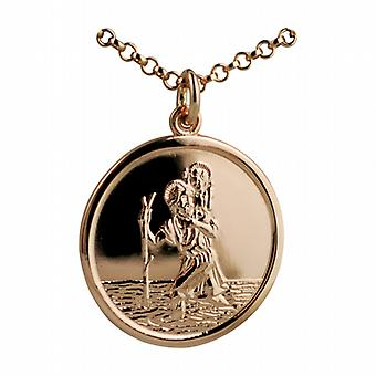 9ct Rose Gold 25mm round St Christopher Pendant with belcher Chain 24 inches