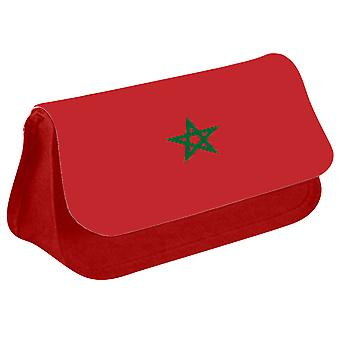 Morocco Flag Printed Design Pencil Case for Stationary/Cosmetic - 0118 (Red) by i-Tronixs