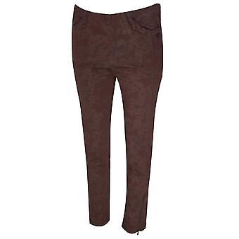 Laurie Slim Leg Brown Camo Print Cotton Trouser
