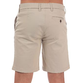 Mens Ben Sherman Stretch Chino Shorts In Stone-Zip Fly-Pockets To Sides-