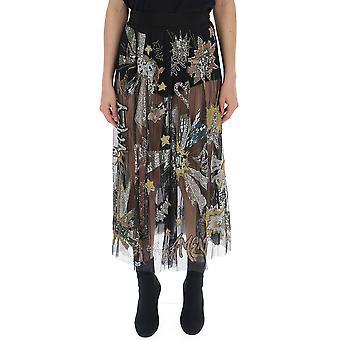 Amen Ams19318089 Kvinnor's Svart polyester kjol