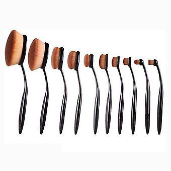 Oval Makeup børster 10 stk sort