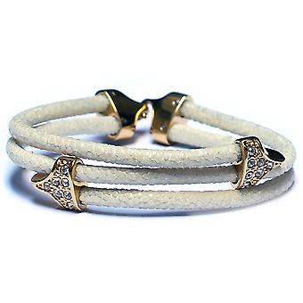 Lavriche Stingray White Leather Bracelet 18k Gold Plated and CZ High Quality