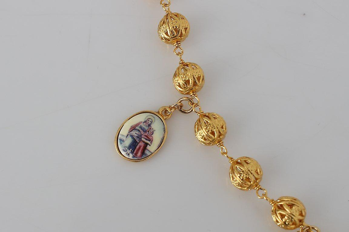Gold brass crystal sicily maria charms chain necklace