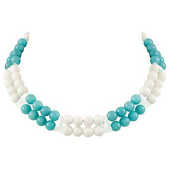 Eternal Collection Finale Turquoise/White Mountain Jade And Crystal Statement Necklace