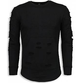 3D Stamp PARIS Sweater-Damaged sweatshirt-Black